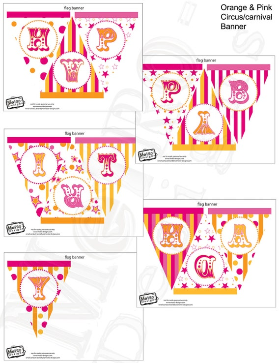 Instant Download, Carnival Birthday Banner, Circus Birthday Banner, Carnival Bunting, Circus Bunting, Carnival Party Banner, Circus Birthday
