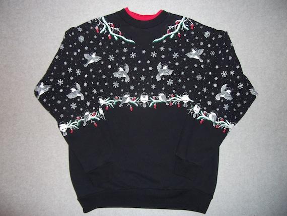 Cute Tweet Tweet Twitter Vintage Birds Black Sweatshirt Tacky Gaudy Ugly Christmas Sweater Party X-Mas L Large XL X Large