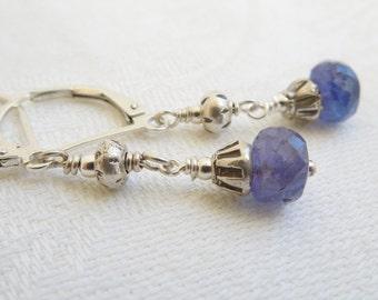 Twilight Blue Gemstone Earrings: Tanzanite, Hill Tribe Silver
