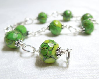 Into the Green Bracelet: Faceted Fashion Stone Sterling