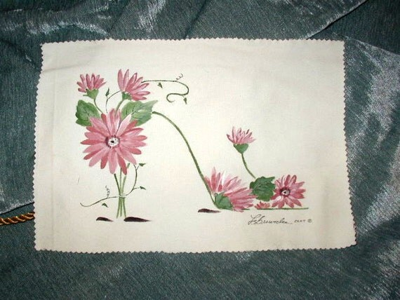 Pink Daisy Flower Shoe - Handpainted and Signed on Fabric - For Pillow approx. 8 x 11. You Sew.