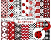 Ladybug Digital Papers Red Black  for Digital Scrapbooking, Card Making, Backgrounds and More Lady Bugs, Instant Download