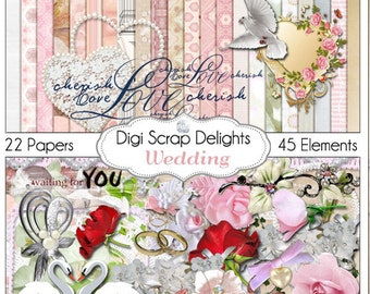 2 Dollar Sale! Save 80%  Wedding Digital Scrapbook Kit for Marriage, Romance, Bridal Shower Scrapbooking, Cards, Photographs