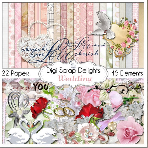 Wedding Scrapbook Kit Wedding Digital Scrapbook Kit