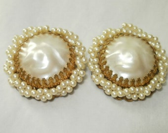 Pearl Earrings with Gold Filigree Small Pearls Clip ons Large Vintage