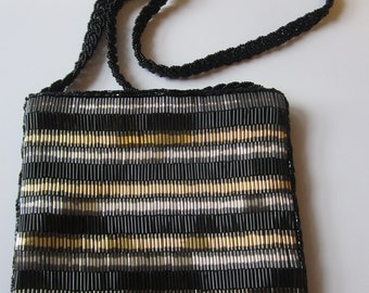 Vintage Glass Beaded Silk Purse - Clovis Ruffin for Genie - Made in Hong Kong - Vintage Accessories