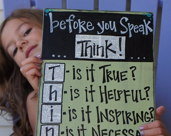before you speak...think classroom custom color wood sign