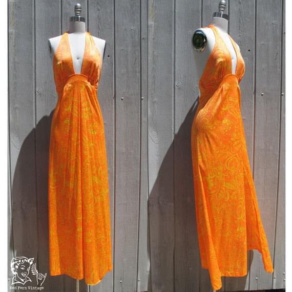 Vintage 70's Neon Orange & Yellow Paisley Halter Dress, Small / Medium