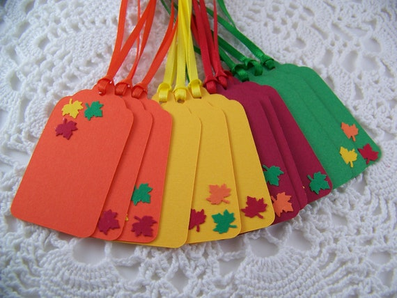 Fall Tags Autumn Leaves Gift Tag Party Favor Label - Set of 12