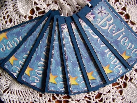 Christmas Gift Tags Blue Believe Holiday Gift Wrap - Set of 8
