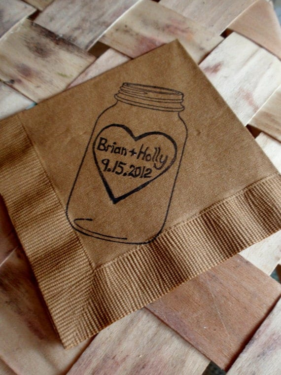 Rustic Personalized Burlap Brown and Ivory Mason Jar Wedding Cocktail Napkins with Large Heart Couples Initials and Wedding Date- set of 300