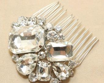 Large Rhinestone Crystal Wedding Bridal Hair Comb, Rectangle Crystal, Teardrop Crystal Wedding Hair Accessory