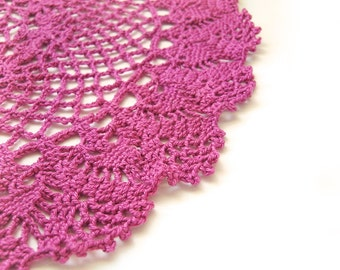"Pink Round Doily - Magenta Lace, 10"", Egyptian Cotton - Valentine's Day Retro Modern Feminine Hostess Home Decor Heirloom Gift"