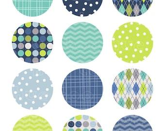 2 inch circles, digital collage sheet, aqua navy blue lime green, chevron polka dot argyle, boys party printable cupcake toppers 913