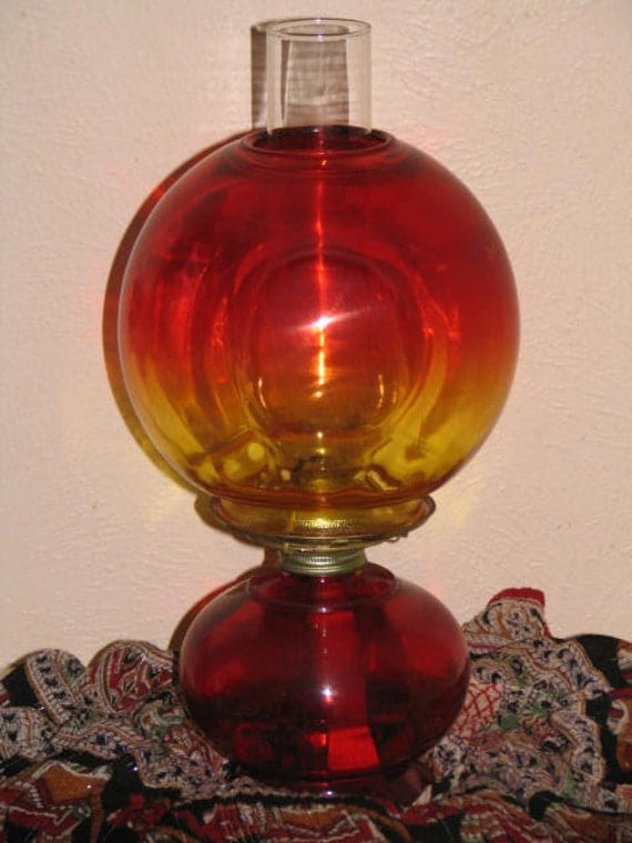 Vintage Hurricane Oil Lamp Red Yellow Chimney Glass Globe Key