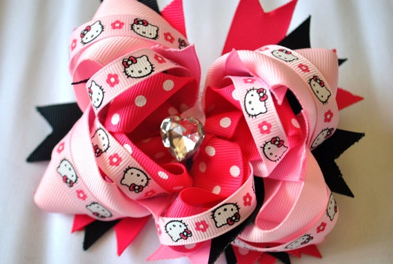 Pink Hello Kitty Inspired Over the Top Stacked Boutique Bow