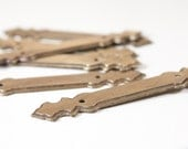 Vintage Antiqued Brass Hardware, Mounting Plates for cabinets and Furniture (set of 6).