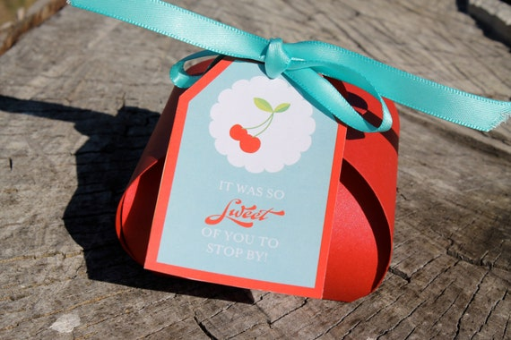 Printable Cherry Birthday Favor Tags - INSTANT DOWNLOAD