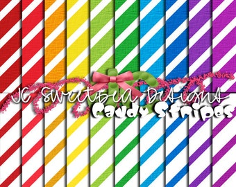 Candy Stripe Scrapbooking Paper Set