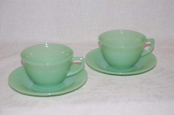 "2 cup and saucer sets vintage ""Jane Ray"" Fire King Jadeite by Anchor Hocking"