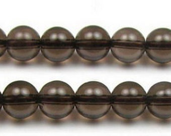 stone bead,Smoky Quartz,smooth round 6mm,15 inch