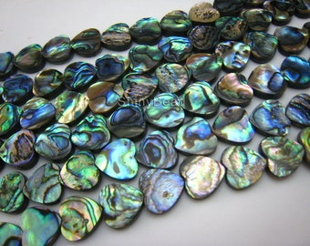 abalone shell flat heart shape 12x12mm 15 inch strand