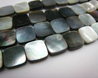 black lip shell flat square 10x10mm 15 inch strand