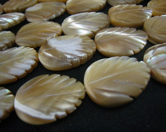 shell bead,MOP carved leaf  20x15mm 15 inch strand