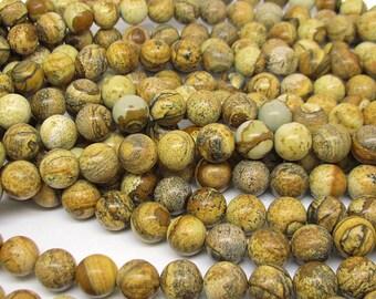 picture jasper round bead 10mm 15 inch strand