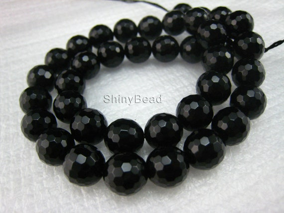high quality Black Onyx faceted round 10mm 15 inch strand