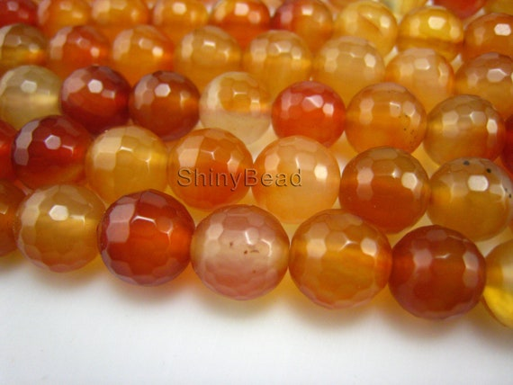 red agate facted round bead 10mm 15 inch strand