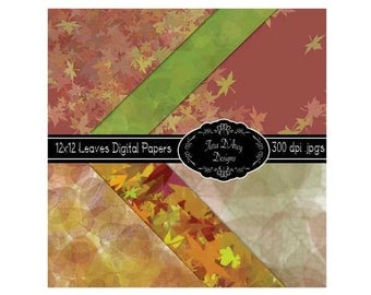 Fall Leaves Digital Scrapbooking Paper 12x12""