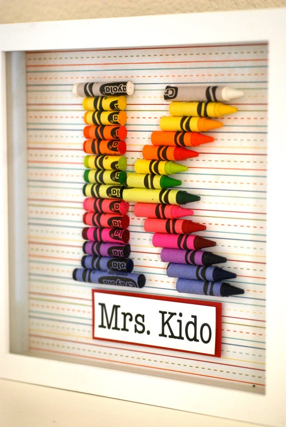 Teacher Gift Customized Crayon Monogram Frame with your choice of letter, name and size.
