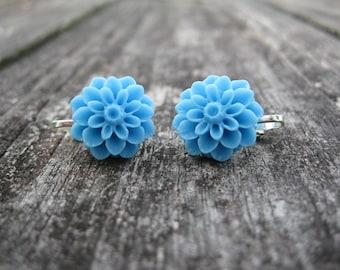 Cornflower Blue Dahlia Flower Clip on Earrings --regular stud earrings option