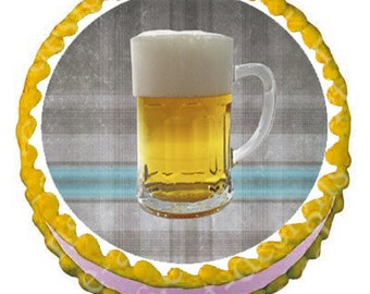 Custom Edible Image Cake Topper - 8 inch round Beer glass design