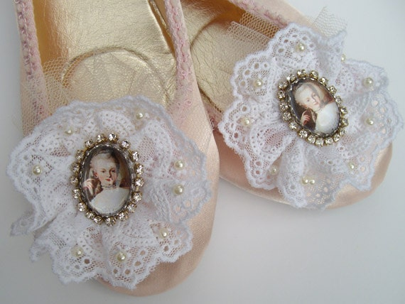 Marie Antoinette wedding ballet pumps in pink satin with cameo and circlet of lace trimmed with diamante and pearls
