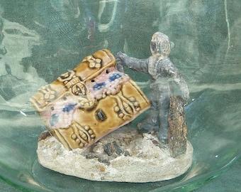Vintage Porcelain Treasure Chest and Lead Diver Aquarium Fish Bowl Figurine