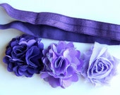 "Elastic Baby/Toddler Headband with Interchangeable Flowers ""Taryn"""