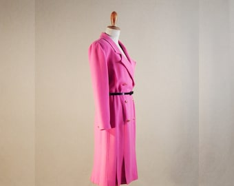 Pink Dress Coat, with Buttons, Vintage Dress, Elegant, Long Sleeves Dress, Mother of the Bride Dress, Mother of the Groom Dress, Classic