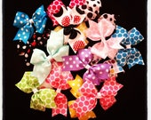 Set of 5...Wholesale Polka Dot Hairbows...Girls Hairbows...Baby/Infant Hairbows...Hairclips
