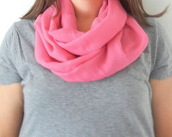 Coral Pink Linen Infinity Scarf