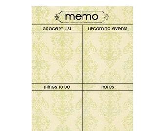 Memo and Menu Planning Set: Cream & Green Vintage Color.