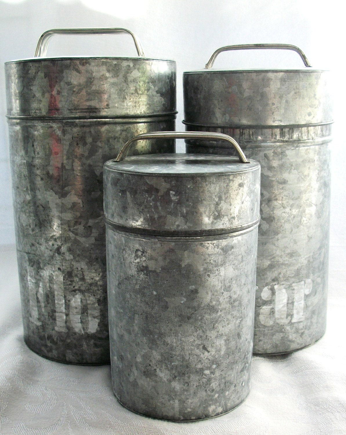 Vintage Galvanized Canister Set Metal No Paint