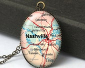 Nashville Map Necklace, Map Jewelry, Nashville Map Pendant, Tennessee Necklace, Gifts For Her, Gifts For Friends, US Map N505
