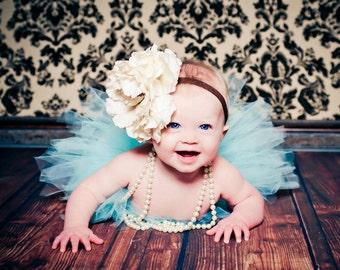 Sky Blue Tutu Set with Matching White Flower Headband Newborn Photography Prop Newborn-5t Tutu Set