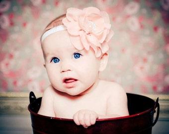 Elegant Peach Chiffon Lilly Flower with Rhinestone Pearl Embelishment Baby Headband Newborn Headband Photography Prop
