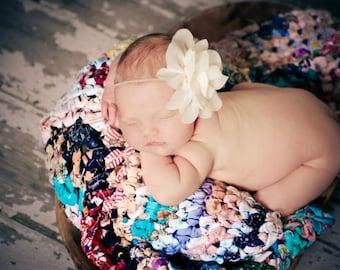 Baby Headband, Ivory Headband, Flower Headband-Elegant Ivory chiffon Lily Newborn Headband Photography Prop