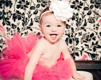 Pretty in Pink Tutu Set Hot Pink Tutu with Lace Silk Flower headband Newborn-3T Photography Prop