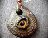 Creepy Stone - Fire Eye Pendant - OOAK
