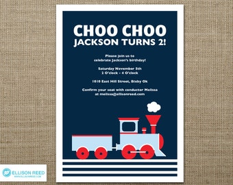 Train Invitation - Train Printable -Train Birthday - Choo Choo - Boy Birthday - Printable party - First Birthday - Invite - Navy - red